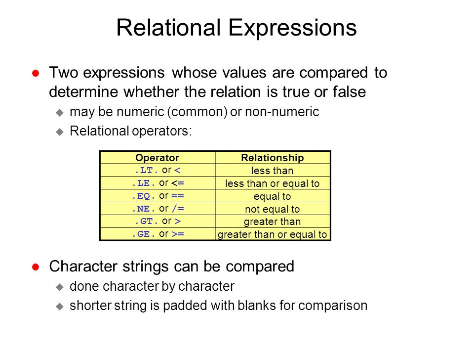 Relational Expressions