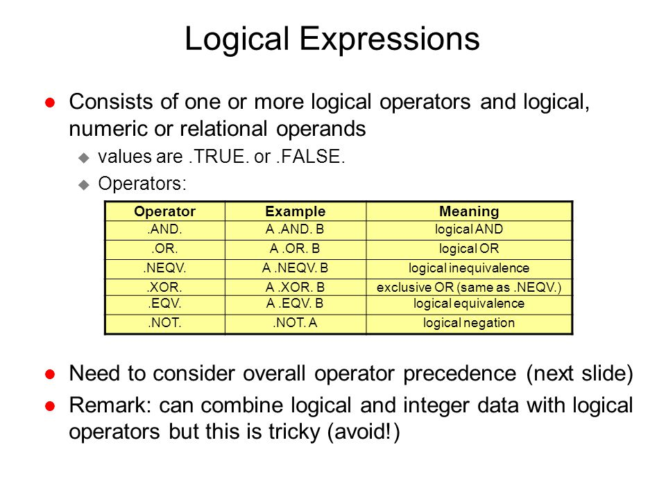 Logical Expressions Consists of one or more logical operators and logical, numeric or relational operands.