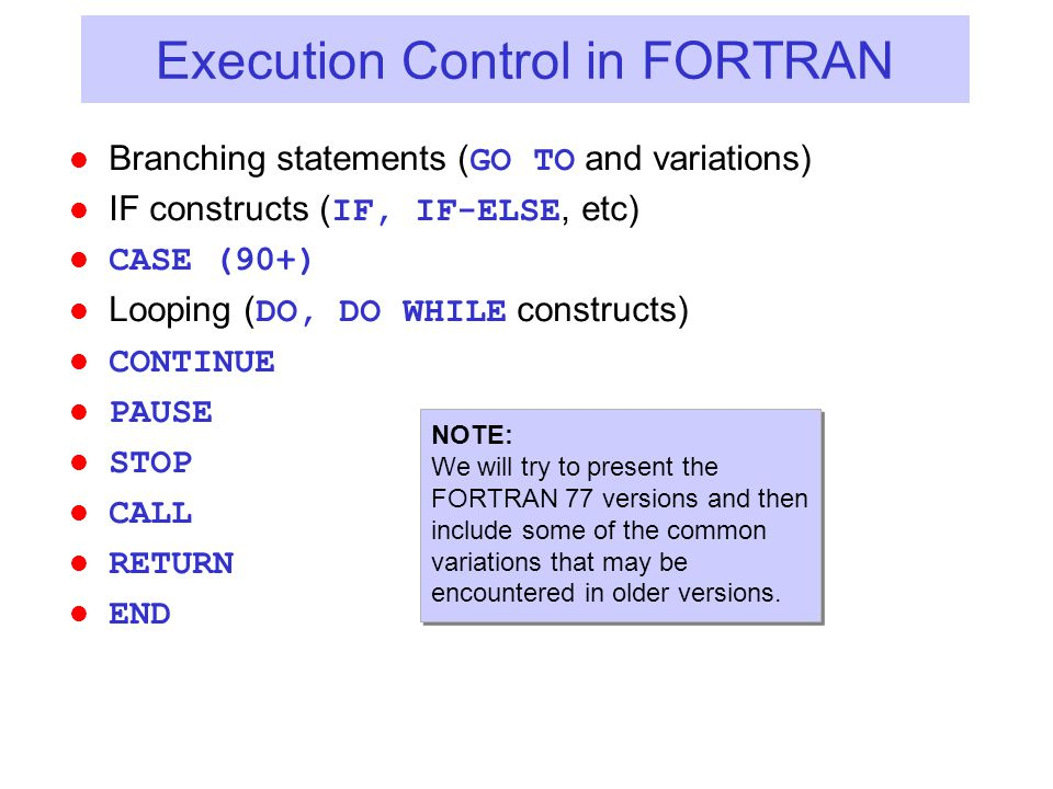 Execution Control in FORTRAN