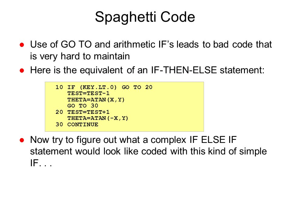 Spaghetti Code Use of GO TO and arithmetic IF's leads to bad code that is very hard to maintain.