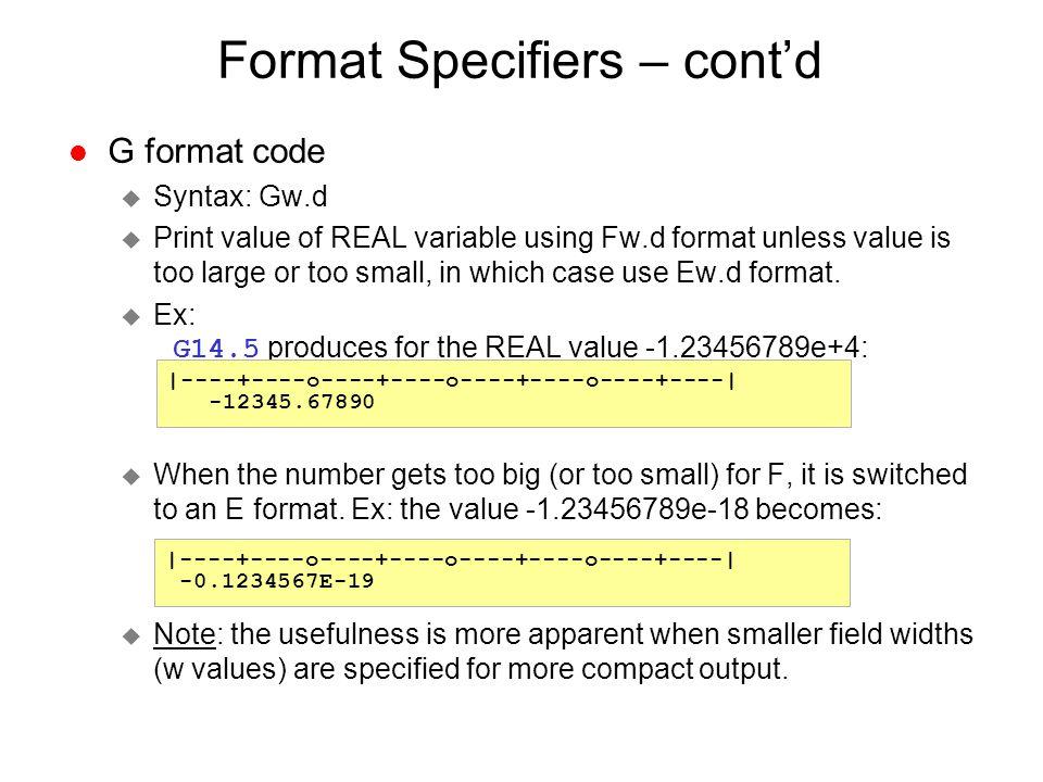 Format Specifiers – cont'd
