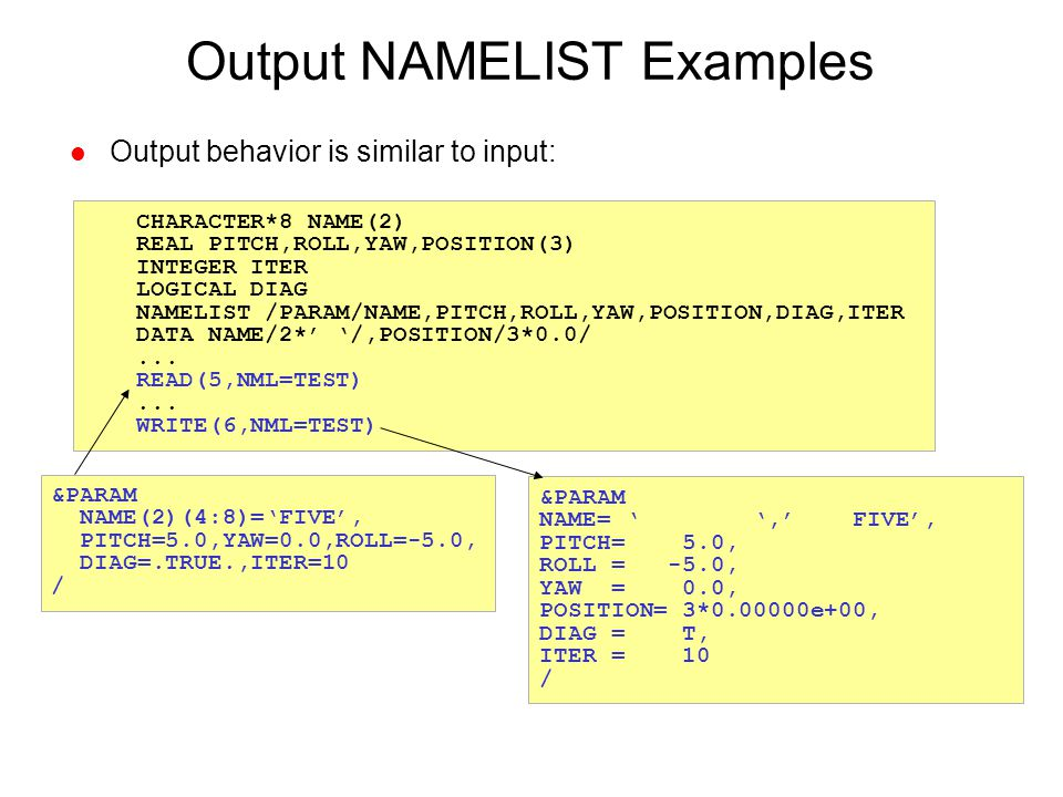 Output NAMELIST Examples
