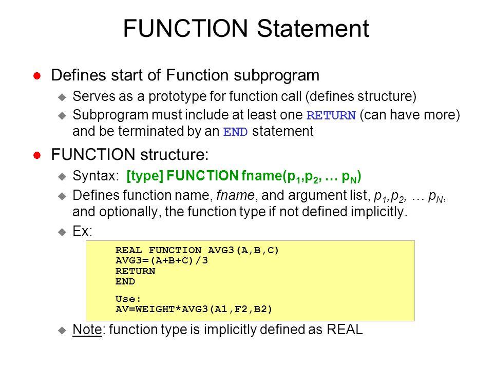 FUNCTION Statement Defines start of Function subprogram