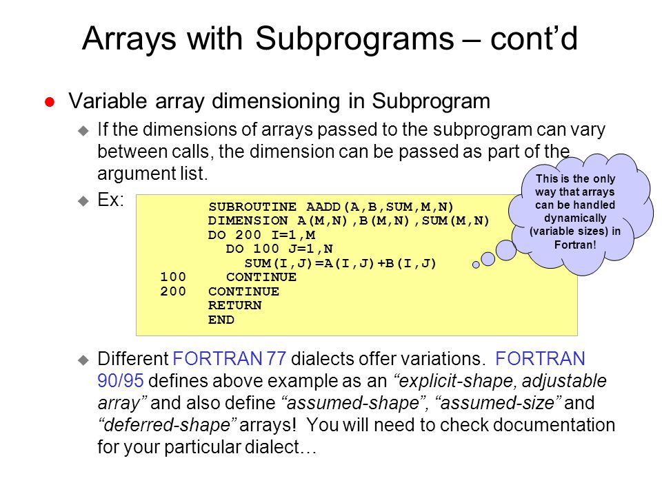 Arrays with Subprograms – cont'd