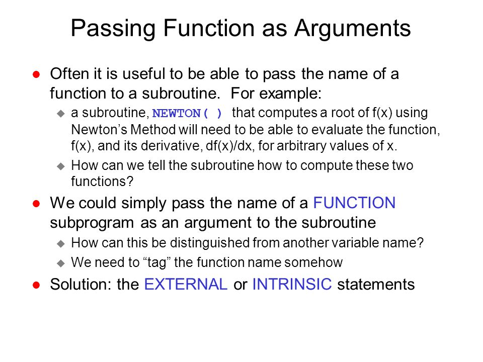 Passing Function as Arguments