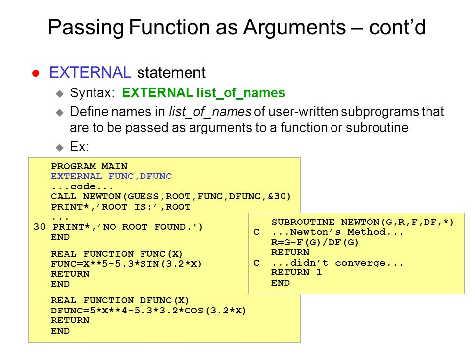 Passing Function as Arguments – cont'd