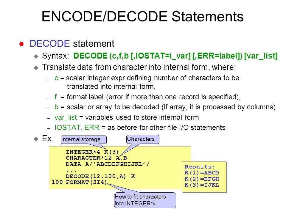 ENCODE/DECODE Statements