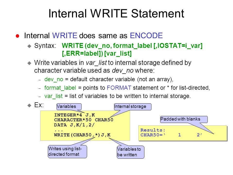 Internal WRITE Statement