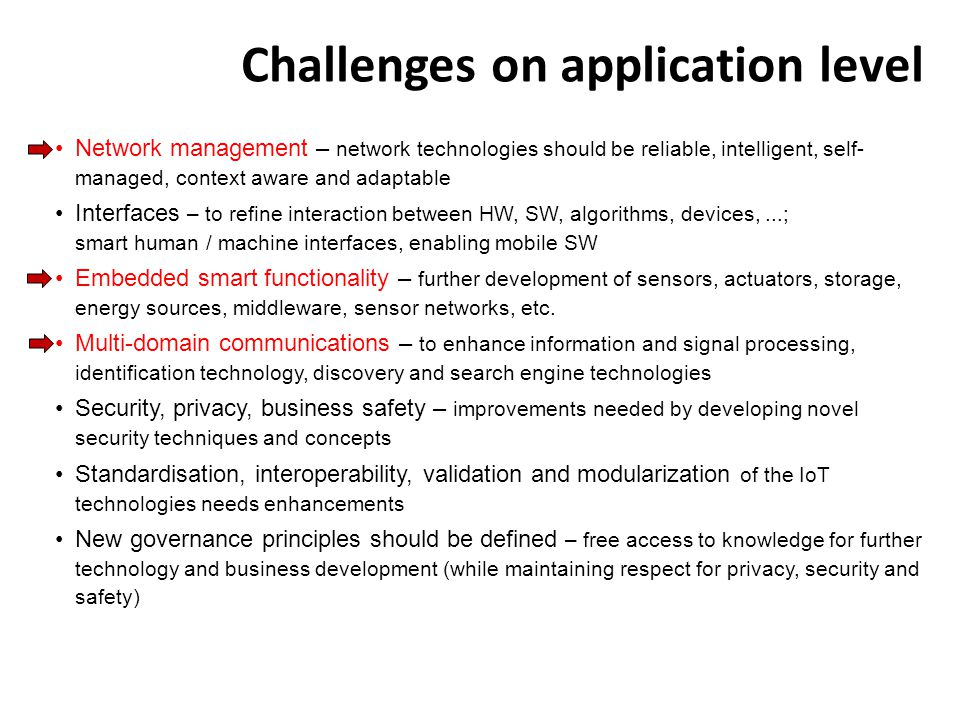 Challenges on application level