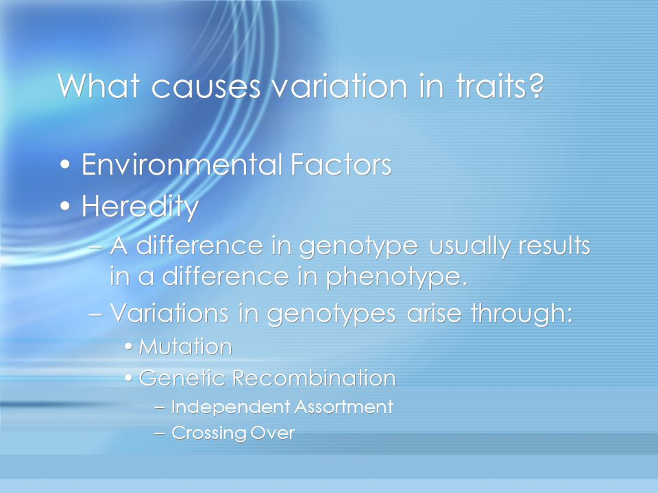 What causes variation in traits