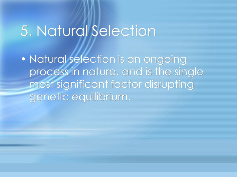 Is Natural Selection A Stabilizing Factor