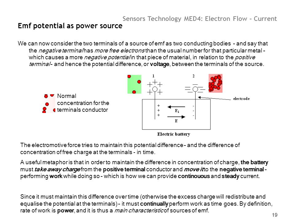 Emf potential as power source