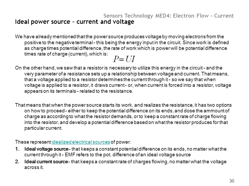 Ideal power source – current and voltage