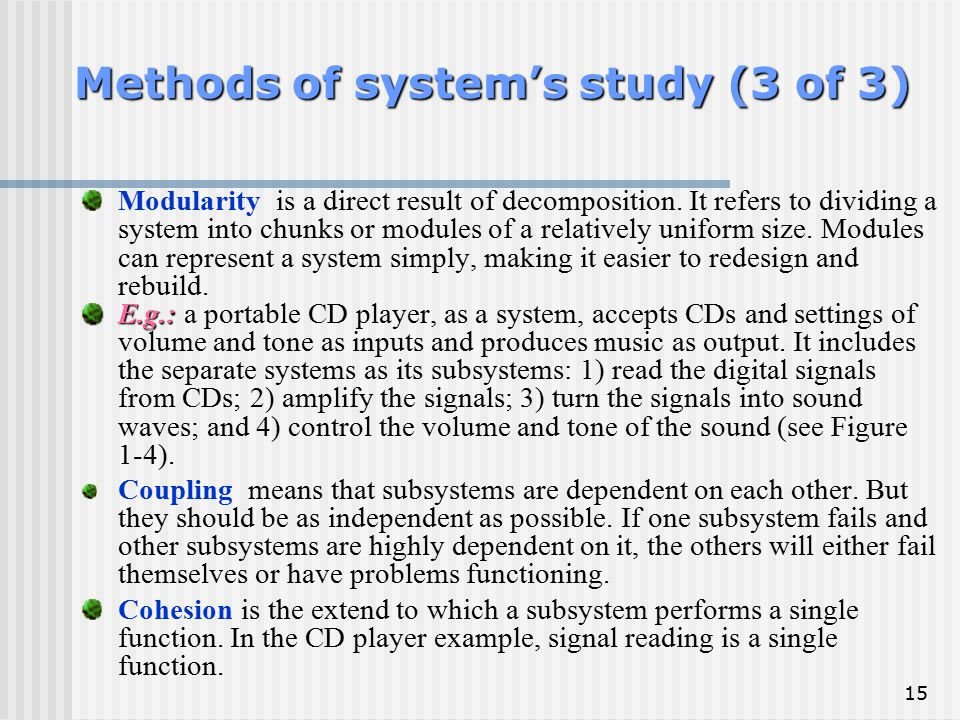 Methods of system's study (3 of 3)
