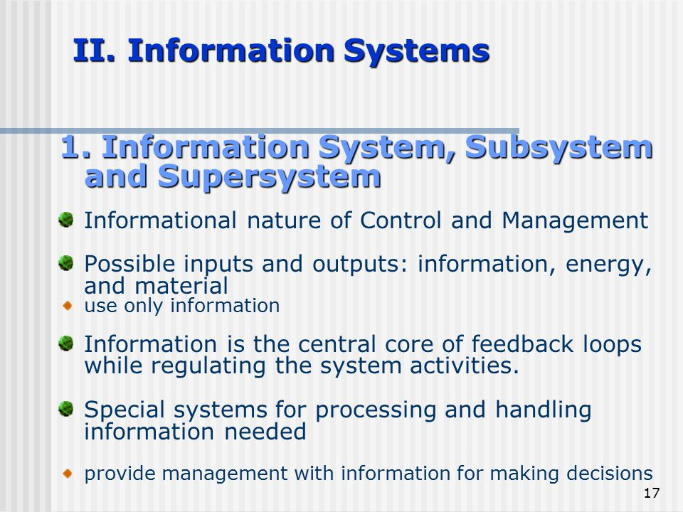 II. Information Systems