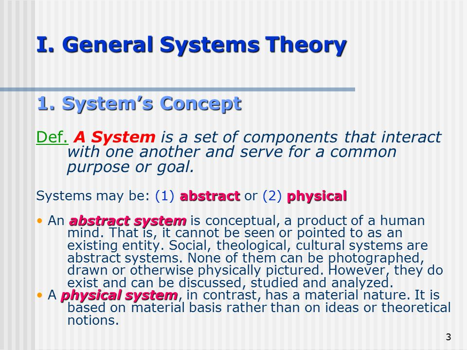 I. General Systems Theory
