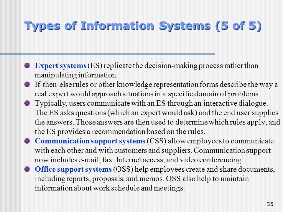Types of Information Systems (5 of 5)
