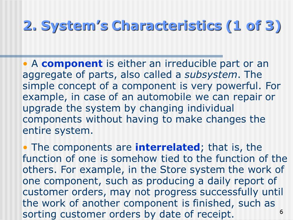 2. System's Characteristics (1 of 3)