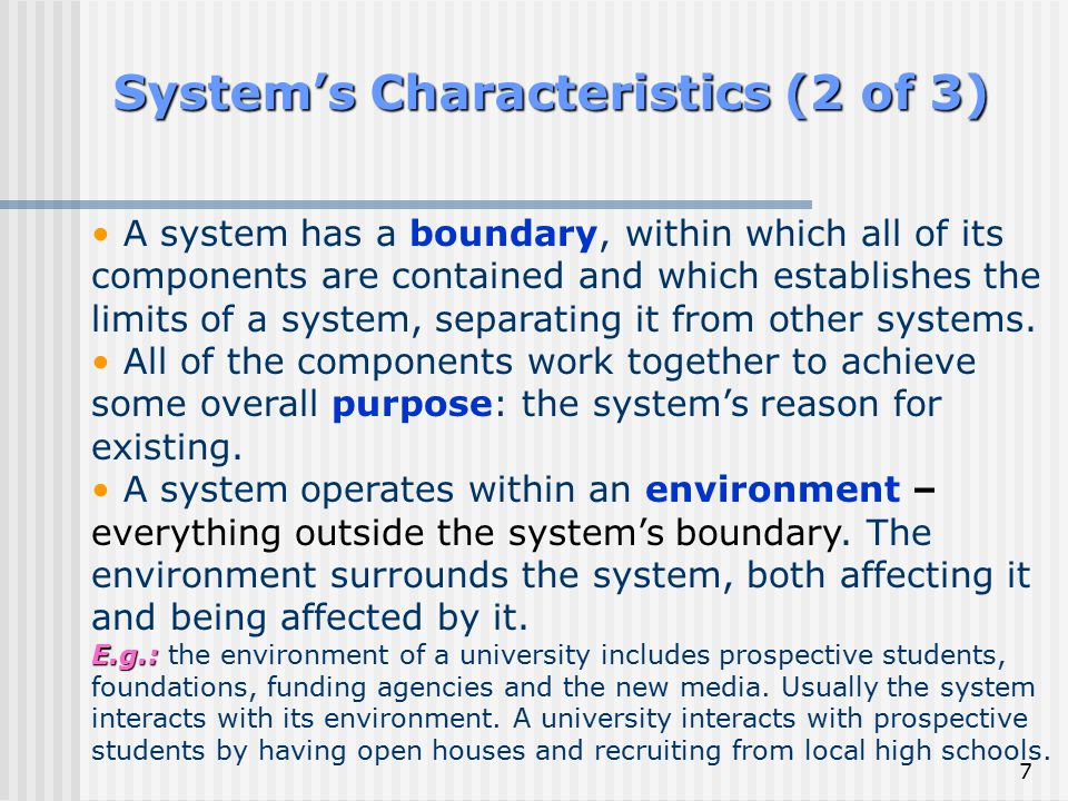 System's Characteristics (2 of 3)