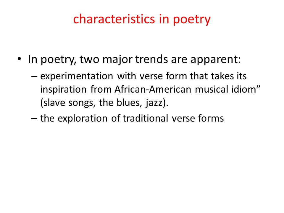 characteristics in poetry