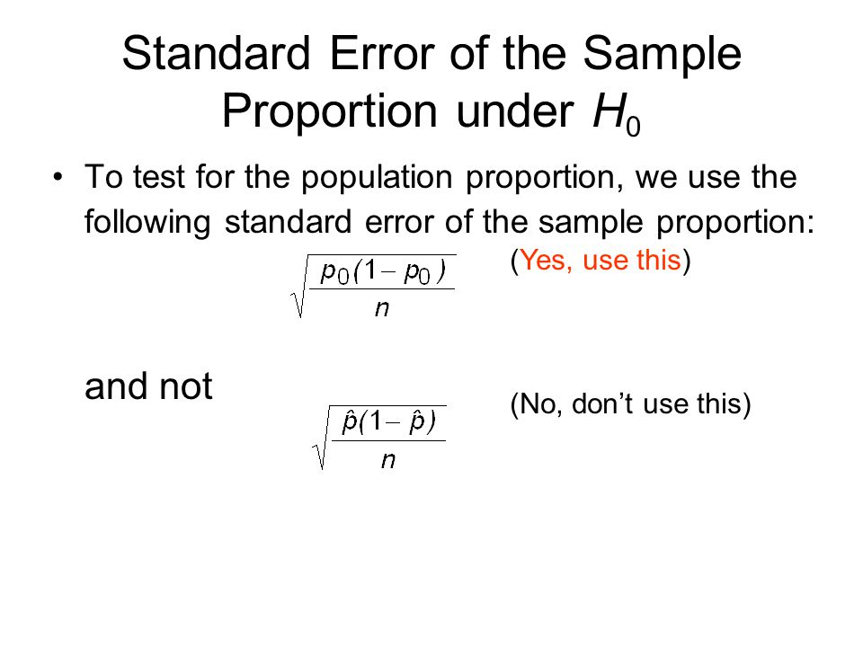Standard Error of the Sample Proportion under H0