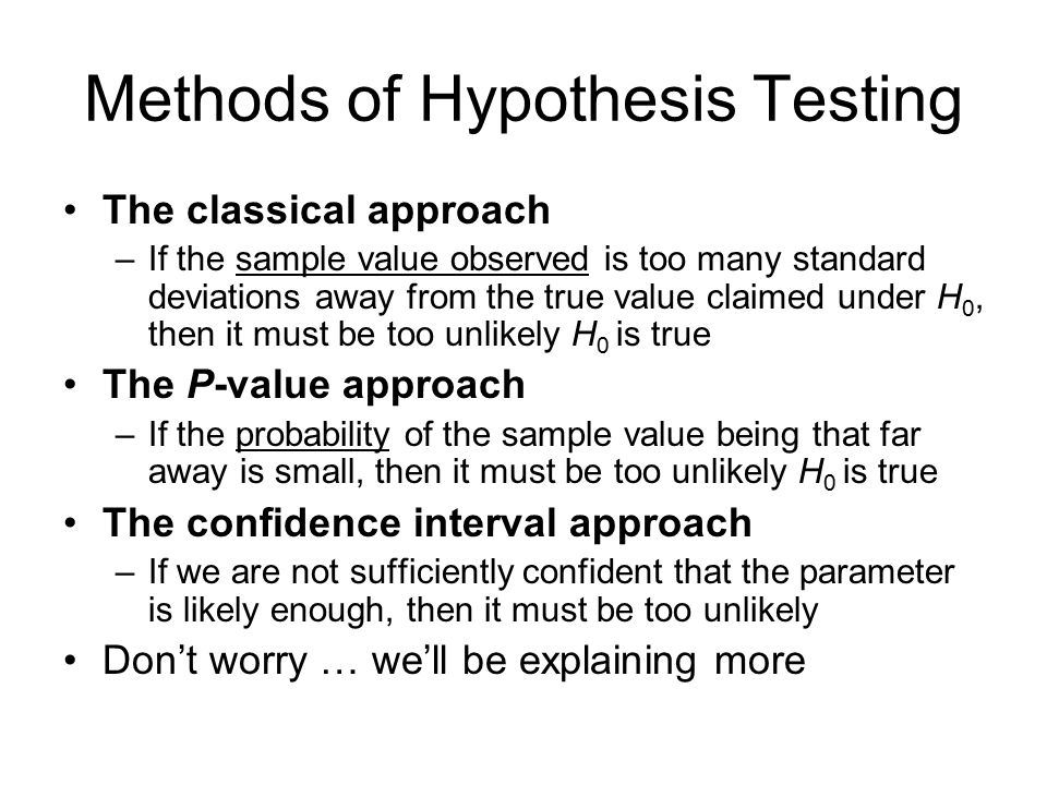 Methods of Hypothesis Testing