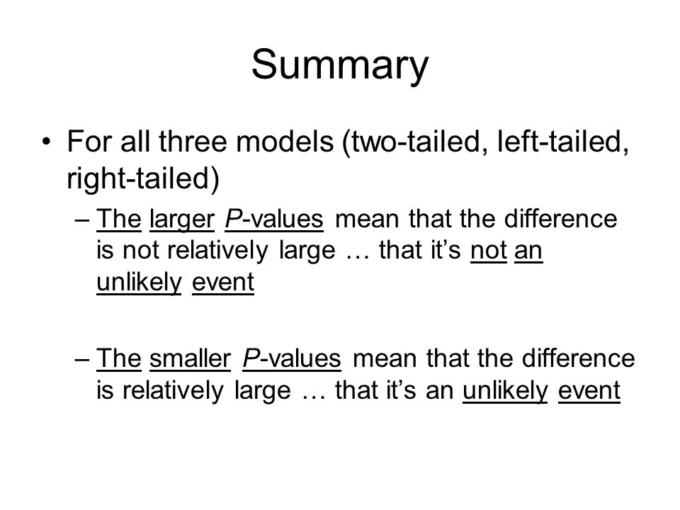 Summary For all three models (two-tailed, left-tailed, right-tailed)