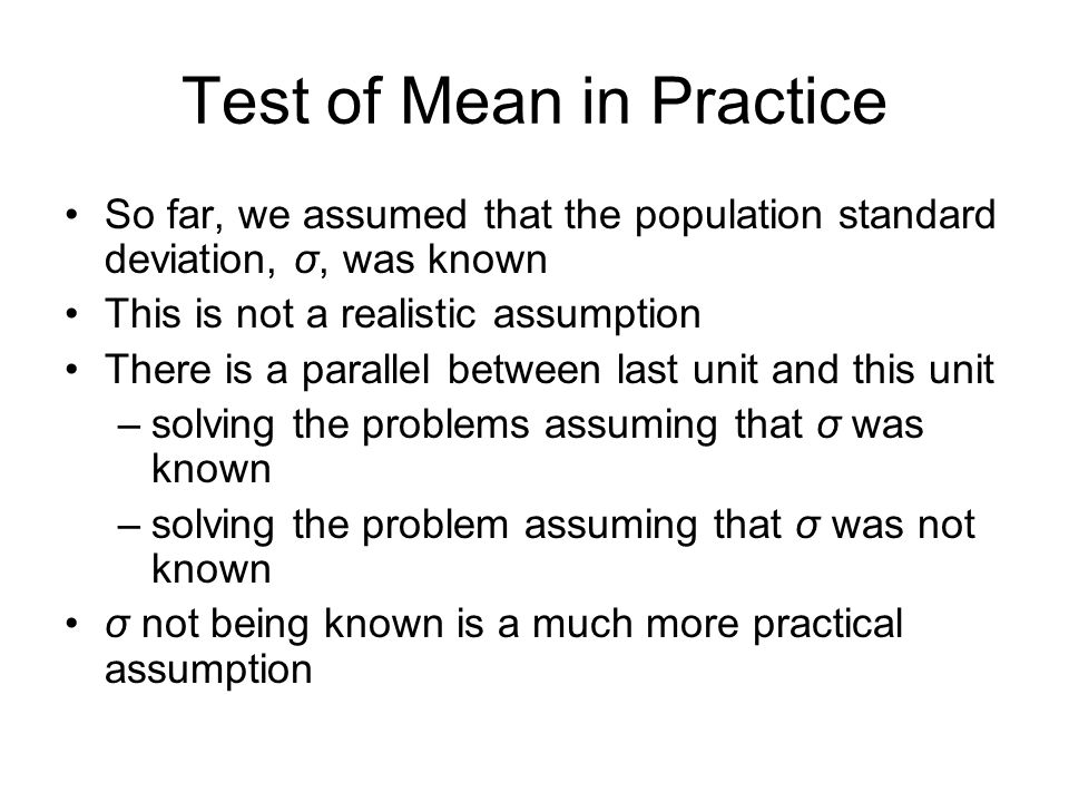 Test of Mean in Practice