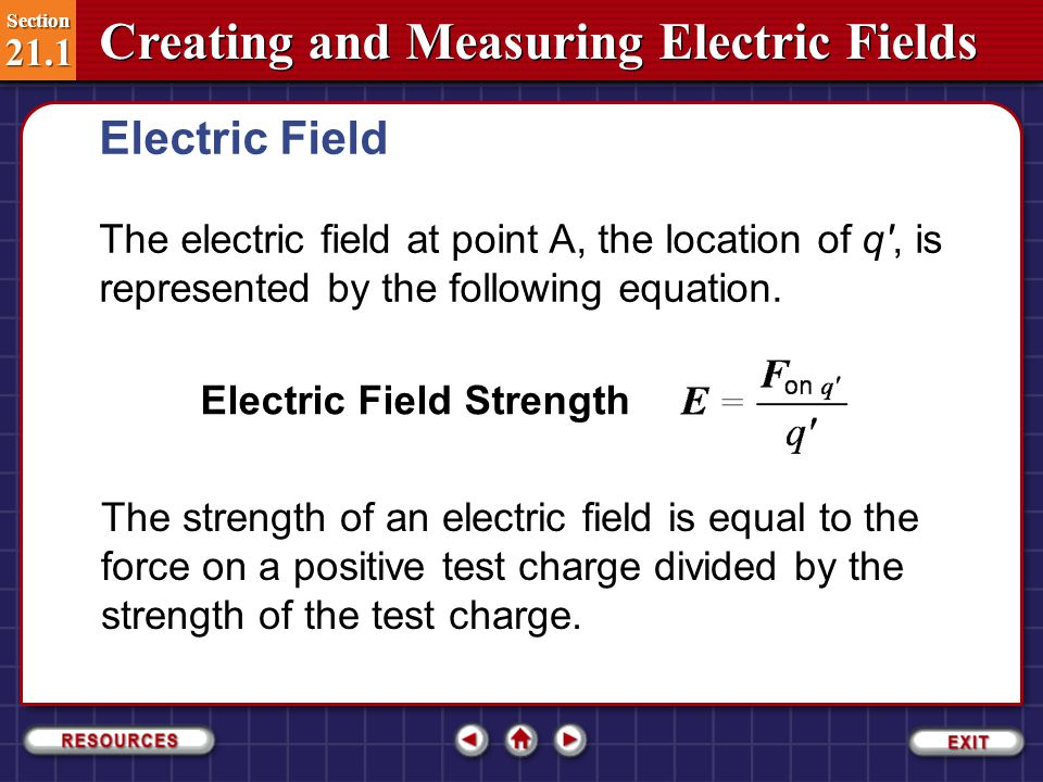 Electric Field The electric field at point A, the location of q , is represented by the following equation.
