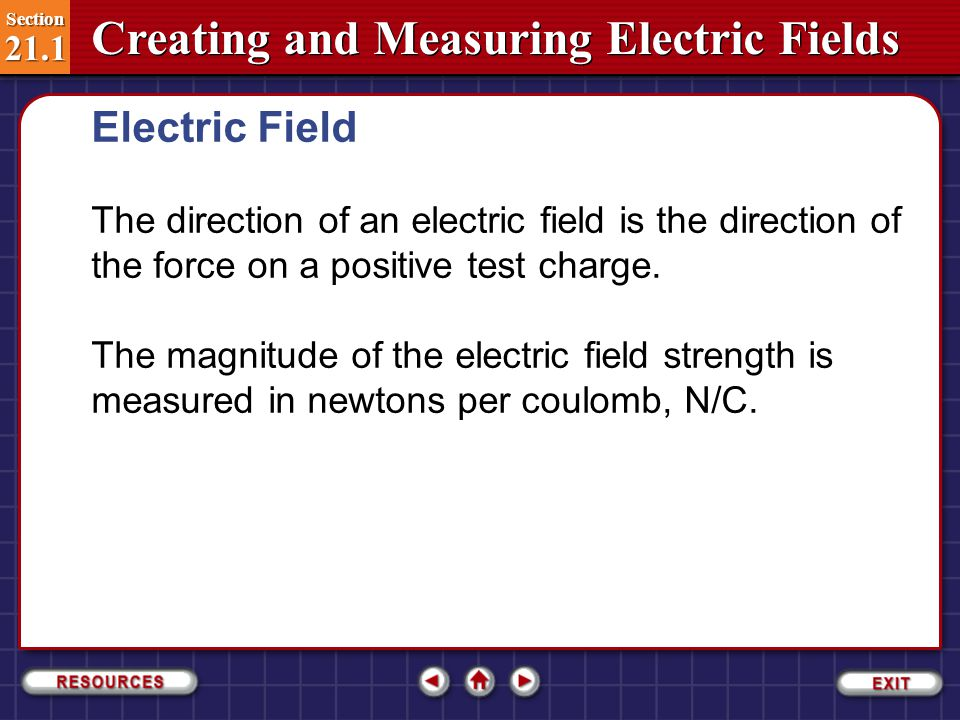 Electric Field The direction of an electric field is the direction of the force on a positive test charge.