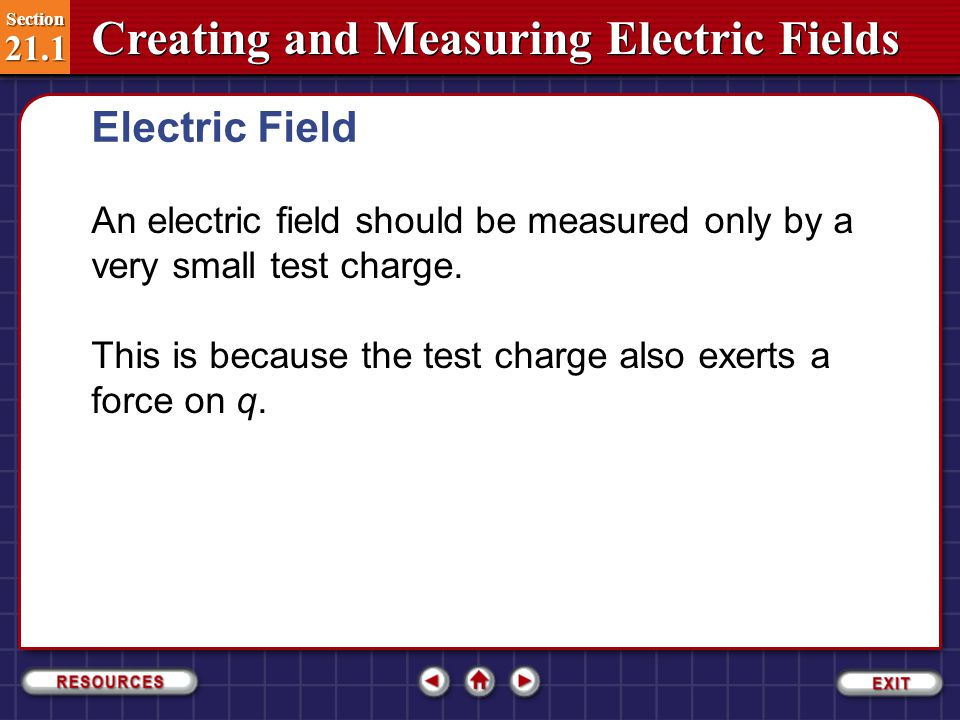 Electric Field An electric field should be measured only by a very small test charge. This is because the test charge also exerts a force on q.