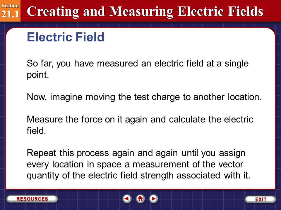 Electric Field So far, you have measured an electric field at a single point. Now, imagine moving the test charge to another location.