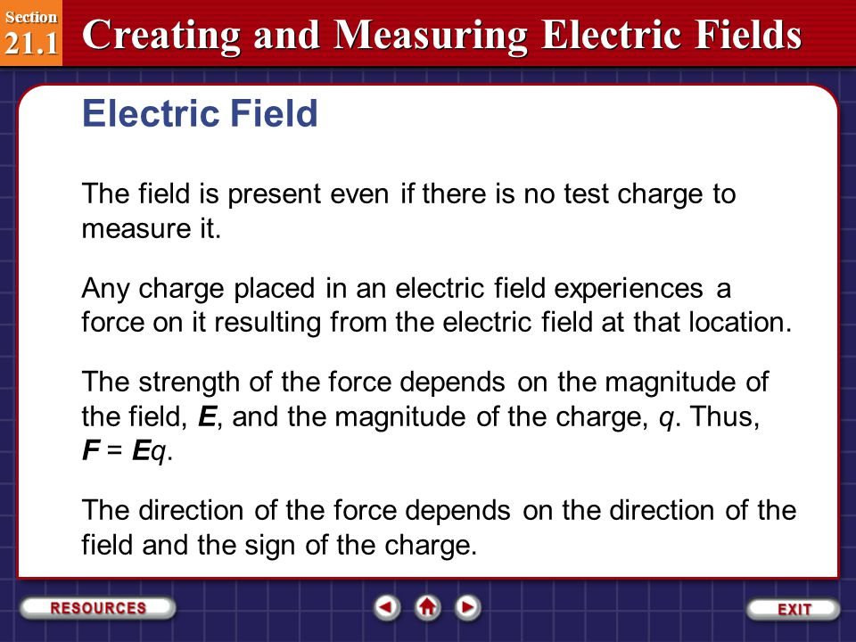 Electric Field The field is present even if there is no test charge to measure it.