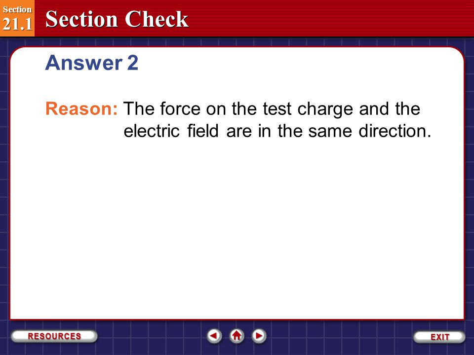 Answer 2 Reason: The force on the test charge and the electric field are in the same direction.