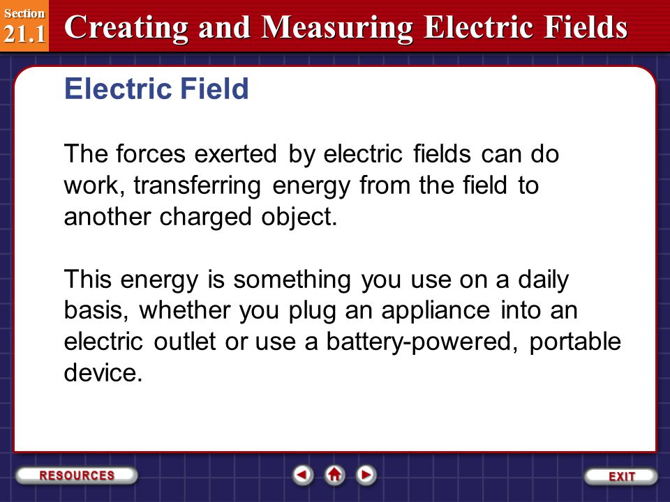 Electric Field The forces exerted by electric fields can do work, transferring energy from the field to another charged object.