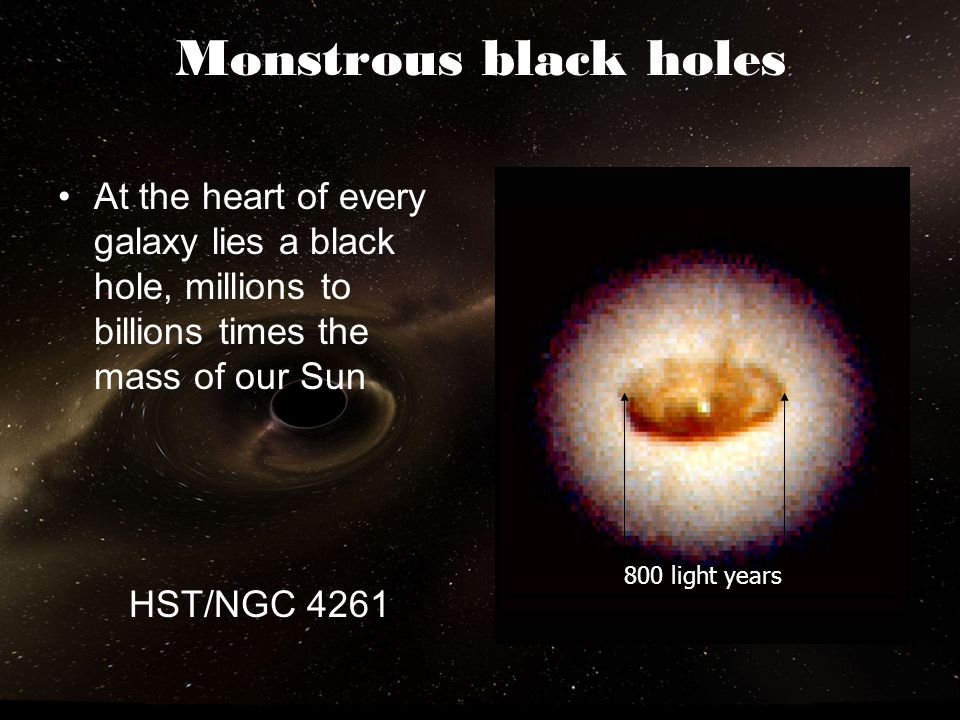 Monstrous black holes At the heart of every galaxy lies a black hole, millions to billions times the mass of our Sun.