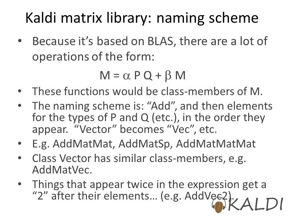 Kaldi matrix library: naming scheme