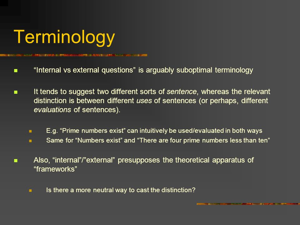 Terminology Internal vs external questions is arguably suboptimal terminology.