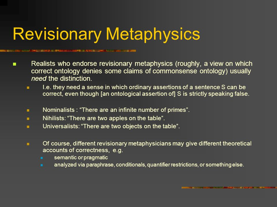 Revisionary Metaphysics