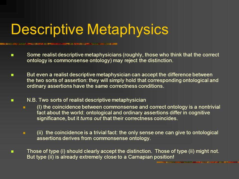 Descriptive Metaphysics