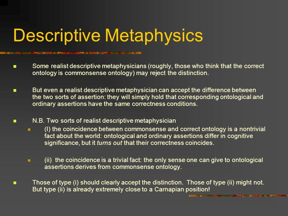 Descriptive Metaphysics