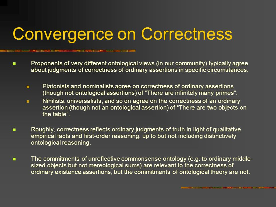 Convergence on Correctness