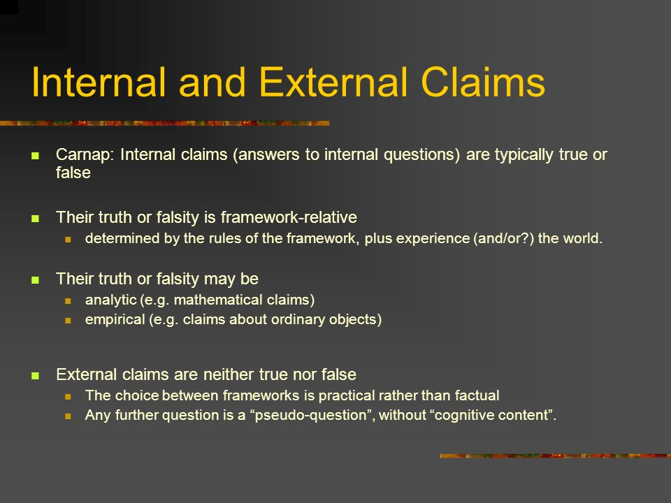 Internal and External Claims