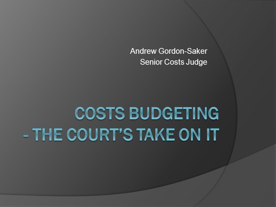 Costs BUDGETING - The COURT'S TAKE ON IT