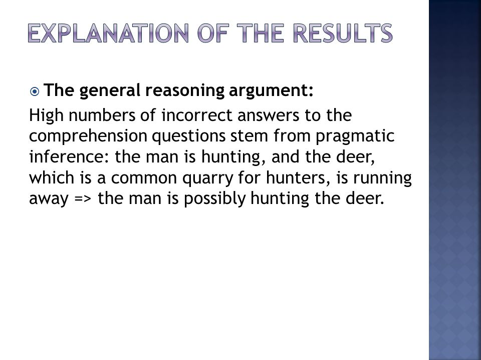 Explanation of the results