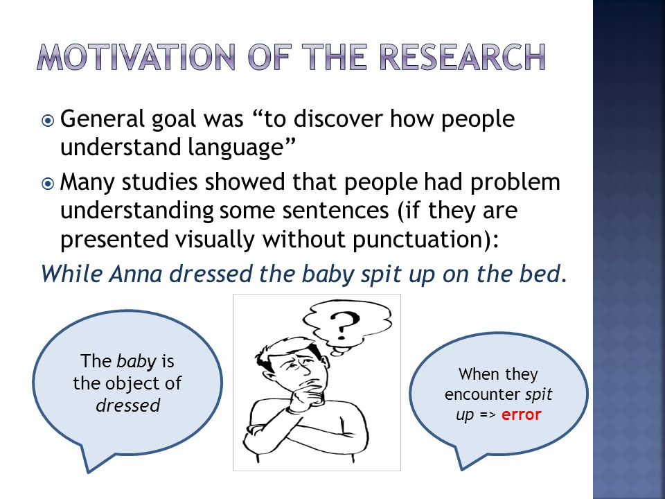 Motivation of the research