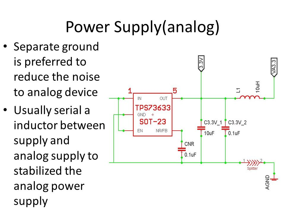 Power Supply(analog) Separate ground is preferred to reduce the noise to analog device.