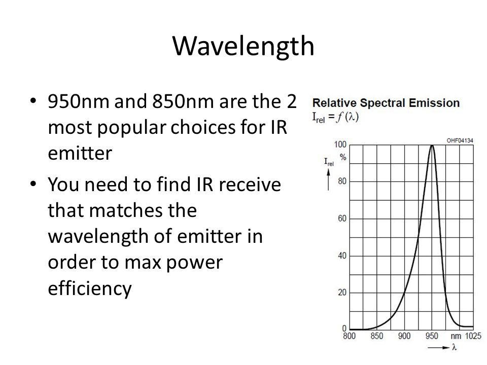 Wavelength 950nm and 850nm are the 2 most popular choices for IR emitter.