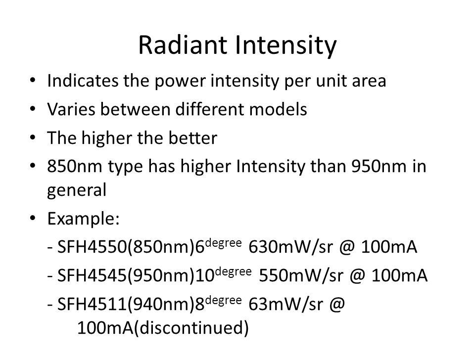 Radiant Intensity Indicates the power intensity per unit area
