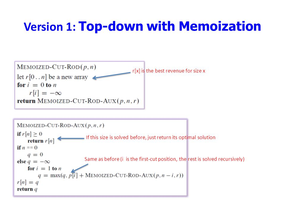 Version 1: Top-down with Memoization